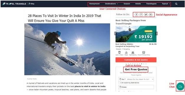 Travel Triangle's beautiful website